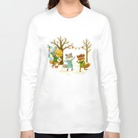 dancing Long Sleeve T-shirts featuring Critters: Spring Dancing by Teagan White