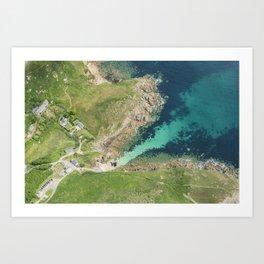 Top down aerial views over Porthgwarra Beach, Cornwall. Art Print