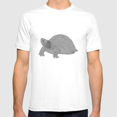 Turtle Illustration B/W MEDIUM White Mens Fitted Tee