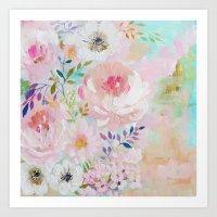 craftberrybush Art Prints featuring Acrylic rose garden  by craftberrybush