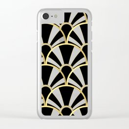 Black, White and Gold Classic Art Deco Fan Pattern Clear iPhone Case