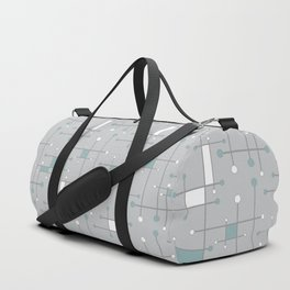 Intersecting Lines in Gray, Sea Foam and White Duffle Bag