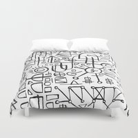 writing Duvet Covers featuring ALIEN WRITING by Matthew Taylor Wilson