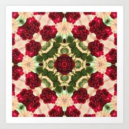 Old Red Rose Kaleidoscope 6 Art Print