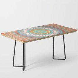 Turquoise Coral Mandala Design Coffee Table