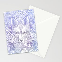 Pastel Purple Hiding Fox Drawing Stationery Cards