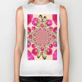 modern art cerise pink hollyhock & yellow butterflies Biker Tank