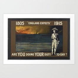 Poster, 1805 England Expects 1915', 1915, United Kingdom, by Parliamentary Recruiting Committee Art Print