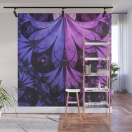 Beautiful Blue and Lilac-Violet Starling Feathers Wall Mural