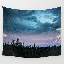 Mount Rainier's Moon Wall Tapestry