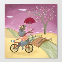 Riding the bike. Canvas Print