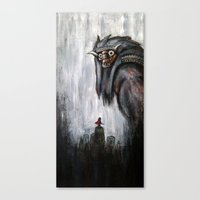 shadow of the colossus Canvas Prints featuring Wander and the Colossus by Doom