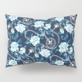 Midnight Sparkles - Gardenias and Fireflies in Sapphire Blue Pillow Sham