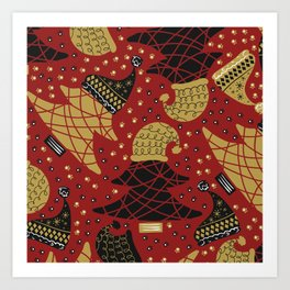 Funky Winter Pine Trees Hats Gold Black Red Background Pattern Art Print