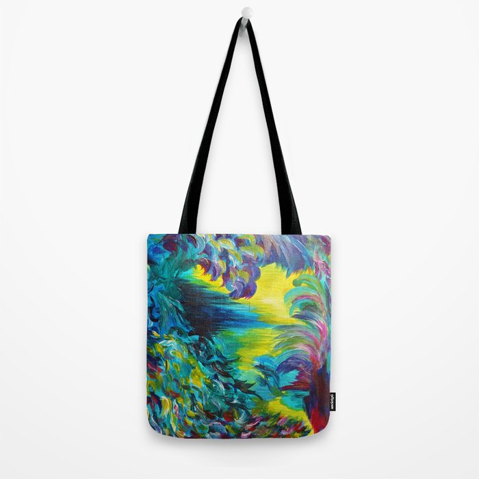 FLIGHT ON TAP - Whimsical Colorful Feathers Fountain Peacock Abstract Acrylic Painting Purple Teal Tote Bag