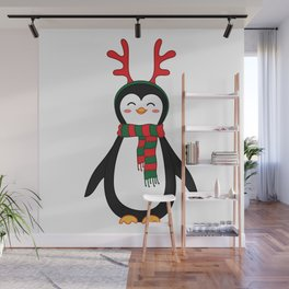Penguin with scarf and reindeer antler head band. Wall Mural