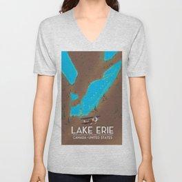 Lake Erie, USA lake Map Unisex V-Neck