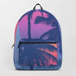 Tropical Sunrise With Pink Gradient Sun And Silhouette Of Palm Trees And Mountains In The Background Of Blue Sky Backpack