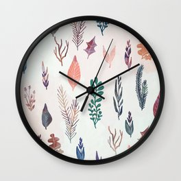 Mix of plants and watercolor leaves Wall Clock