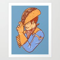 taco Art Prints featuring Taco Cowboy by Jonah Makes Artstuff