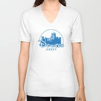 downton abbey V-neck T-shirts featuring The Wonderful World of Downton Abbey by rydrew