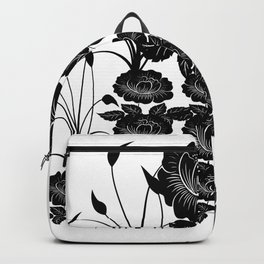 Black Floral Roses and Plants Backpack