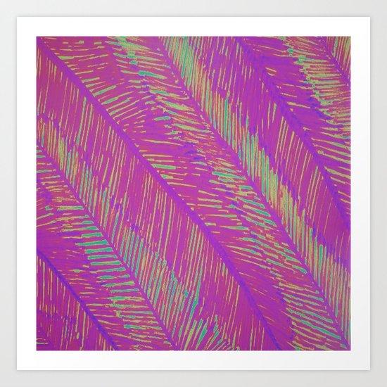 Neon Summer Palms Art Print