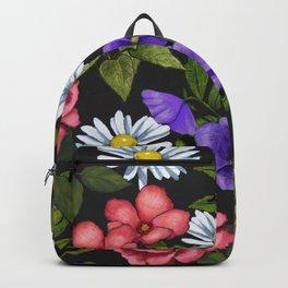 Flowers on Black Background, Original Art Backpack