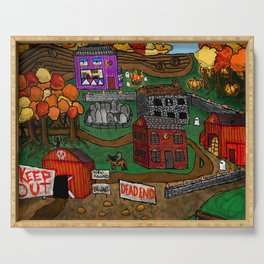 Halloween Dream Town Serving Tray