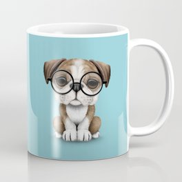 Cute English Bulldog Puppy Wearing Glasses on Blue Coffee Mug