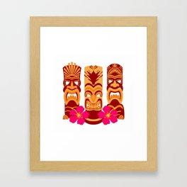 Tiki Statues Set Framed Art Print