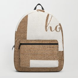 Wyoming is Home - White on Burlap Backpack