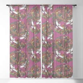 tree of life berry Sheer Curtain