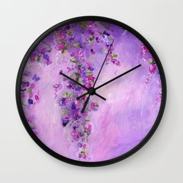 Violet Floral Abstract Wall Clock