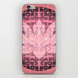 Pink Luminous Techno Lotus iPhone Skin