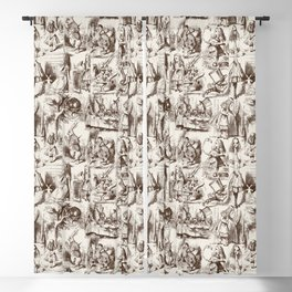 Alice in Wonderland | Toile de Jouy Pattern | Brown | Beige | Vintage Pattern | Victorian Gothic | Blackout Curtain