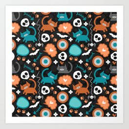 Funny Halloween pattern with kittens Art Print