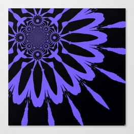 The Modern Flower Black and Periwinkle Purple Canvas Print