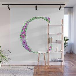 Floral Monogram Letter C Wall Mural