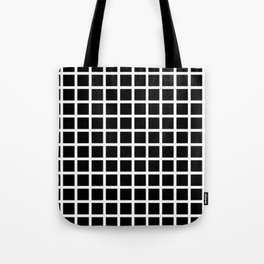 Endless Grid Retro Themed Black and White Design Tote Bag