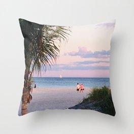 Lovers walk beach Throw Pillow