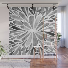 Symmetric drops - black and white Wall Mural