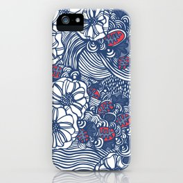 red and blue wavy floral iPhone Case