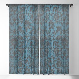 Teal and Black Floral Damask Sheer Curtain