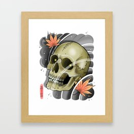 Skull And Maple Leaves by Kevin Thrun Framed Art Print
