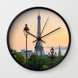 Eiffel tower and lamppost with orange sky Wall Clock