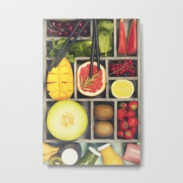 Fresh juices or smoothies with fruits and vegetables Metal Print