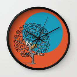 Cats under the blue moon Wall Clock