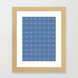 Blue Ditsy Daisy Floral Framed Art Print