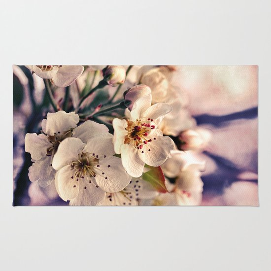Blossoms at Dusk - vintage toned & textured macro photograph Rug